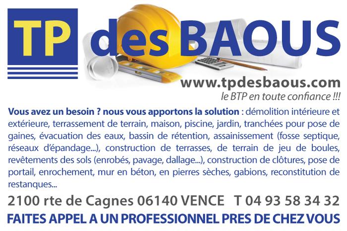 Publicité TP des BAOUS - Le BTP en toute confiance